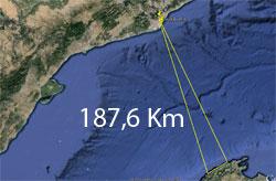 Distància entre Barcelona i Mallorca 187,6 Km